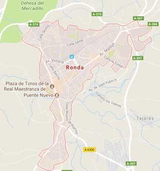 Map of Ronda, Spain