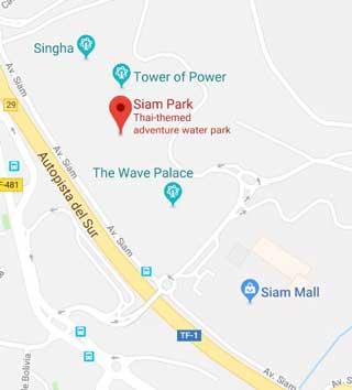 Siam Park Map, Tenerife